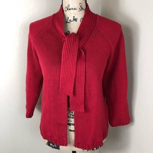 Talbots Brick Red Cotton Ribbed Cardigan Sweater M